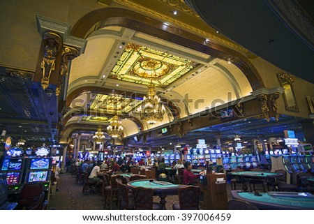 LAS VEGAS, NV, USA - MARCH 25, 2016: Founded in May 1905 and incorporated as the city in 1911. The first casino was legaized in 1931. Pictured is the historic casino in 'Main Street Station.' - stock photo