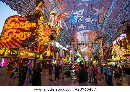 LAS VEGAS, NV/USA - MARCH 25: Fremont Street in Las Vegas on March 25, 2016.