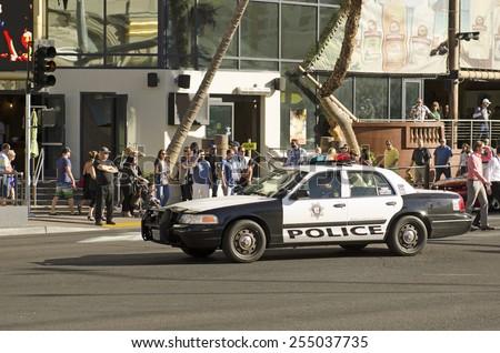 Las Vegas, NV, USA -November 10, 2014: Las Vegas police responding down Las Vegas Blvd to a casino robbery. - stock photo
