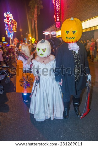 LAS VEGAS - OCT 31 : An unidentified participants at the annual Las Vegas Halloween parade held in Las Vegas , Nevada on October 31 , 2014