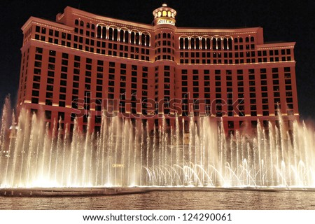 LAS VEGAS - OCT 25: Bellagio Hotel pictured on October 25th, 2010, in Las Vegas, USA. The main tower seen here is over 500 feet tall with 36 stories and located on the famous Las Vegas Strip. - stock photo
