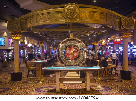LAS VEGAS - OCT 23 :The casino of Caesar Palace on October 23, 2013 in Las Vegas. Caesars Palace is a luxury hotel and casino located on the Las Vegas Strip. Caesars has 3,348 rooms in five towers  - stock photo