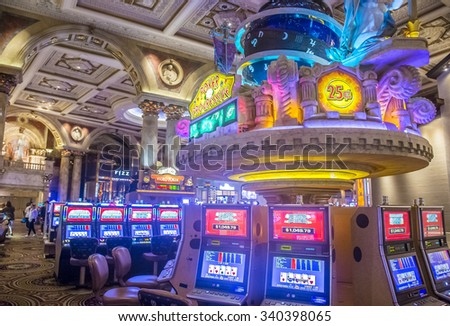 LAS VEGAS - OCT 15 : The casino of Ceasars Palace on October 15, 2015 in Las Vegas. Caesars Palace is a luxury hotel and casino located on the Las Vegas Strip. Caesars has 3,348 rooms in five towers  - stock photo