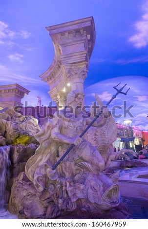 LAS VEGAS - OCT 23 : The Forum shoping mall in Las Vegas on October 23 2013 , The mall connected to the Caesars Palace hotel and casino and it simulates ancient Roman streets - stock photo