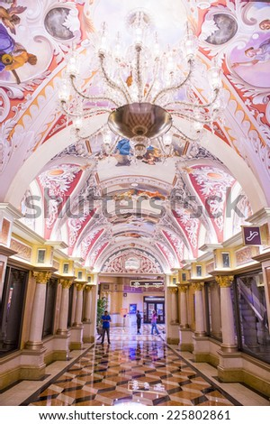 LAS VEGAS - OCT 22 : The interior of the Venetian hotel & Casino in Las Vegas on October 22, 2014. With more than 4000 suites it's one of the most famous hotels in the world. - stock photo