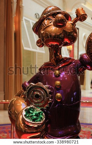 LAS VEGAS - Oct 30 2015 The Jeff Koons Popeye Sculpture display at the Wynn Hotel in Las Vegas - stock photo