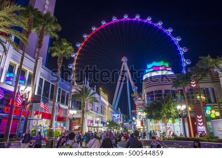 LAS VEGAS - OCT 05 : The Linq, a dining and shopping district and High Roller at the center of the Las Vegas Strip on October 05 2016 , The High Roller is the world's largest observation wheel
