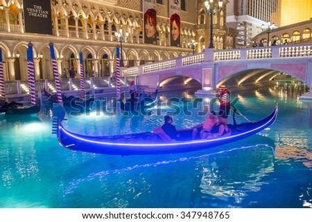 LAS VEGAS - OCT 23 : The Venetian hotel and replica of a Grand canal in Las Vegas on October 23 , 2015. With more than 4000 suites it`s one of the most famous hotels in the world - stock photo