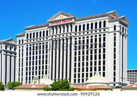 LAS VEGAS - OCTOBER 12: Caesars Palace Hotel on October 12, 2011 in Vegas. The resort has an hotel with 3,349 rooms and its casino is the only in Vegas to host a World Series of Poker Circuit Event - stock photo
