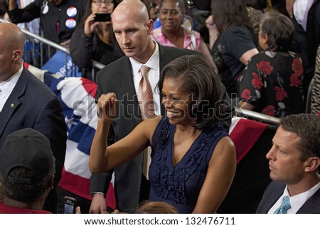 LAS VEGAS - OCTOBER 26: First Lady Michelle Obama among supporters at President Obama`s campaign rally on October 26, 2012 at Orr Middle School in Las Vegas, Nevada. - stock photo