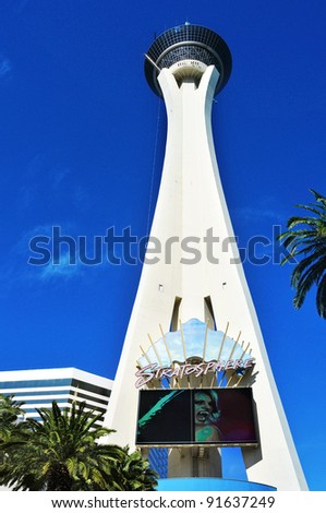 LAS VEGAS - OCTOBER 12: Stratosphere Las Vegas on October 12, 2011 in Vegas. Stratosphere Tower, 1,149 ft (350.2 m) high, is the tallest freestanding observation tower in the United States - stock photo