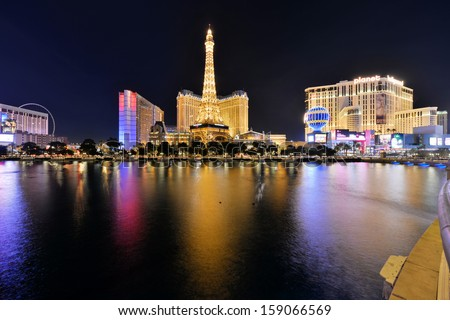 LAS VEGAS - OCTOBER 17: The Paris Las Vegas hotel and casino on October 17, 2013 in Las Vegas. The Paris opened in 1999 and features a replica of the Eiffel Tower. - stock photo