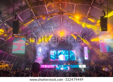 LAS VEGAS - SEP 27 : A general view during the 2015 Life is Beautiful festival on September 27, 2015 in Las Vegas, Nevada. - stock photo