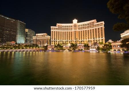 Las Vegas - 11 Sep 2010  - Bellagio Hotel Casino during sunset - stock photo