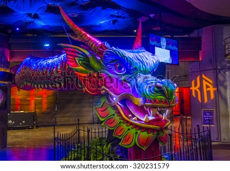 LAS VEGAS - SEP 03 : KA at the MGM hotel in Las Vegas on September 03 2015. KA is a Cirque du Soleil stage production written and directed by Robert Lepage. - stock photo