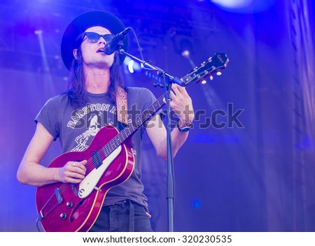 LAS VEGAS - SEP 19 : Singer/songwriter James Bay performs onstage at the 2015 iHeartRadio Music Festival at the Las Vegas Village on September 19, 2015 in Las Vegas, Nevada. - stock photo