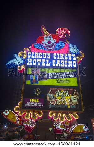 LAS VEGAS - SEP 21: The Circus Circus hotel and casino sign on September 21, 2013 in Las Vegas. Circus Circus features circus acts and carnival type games daily