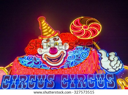 LAS VEGAS - SEP 10: The Circus Circus hotel and casino sign on September 10, 2015 in Las Vegas. Circus Circus features circus acts and carnival type games daily  - stock photo