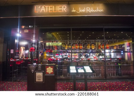 LAS VEGAS - SEP 18 : The Joel Robuchon restaurant in MGM hotel in Las Vegas on September 18 2014. The restaurant  has been rated 3 stars by the Michelin Guide
