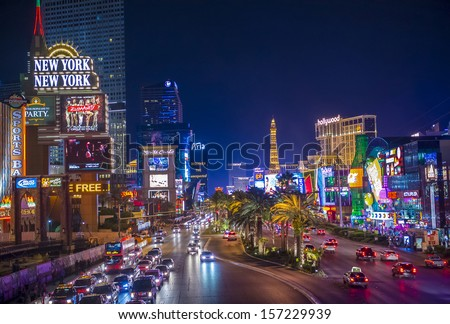 LAS VEGAS - SEP 15 : View of the strip on September 15 , 2013 in Las Vegas. The Las Vegas Strip is an approximately 4.2-mile (6.8 km) stretch of Las Vegas Boulevard in Clark County, Nevada. - stock photo