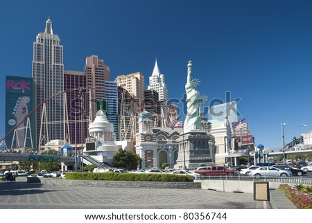 LAS VEGAS - SEPTEMBER 25: New York-New York resort on September 25, 2010. New York-New York are luxury hotels encroach almost 2.5 mil square feet and located on famous Las Vegas strip - stock photo