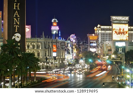 LAS VEGAS - SEPTEMBER 1: Night on September 1, 2007 in Las Vegas: view of Las Vegas Boulevard, with 4.2 miles in length is the most popular street of the city and is packed with casinos and hotels. - stock photo