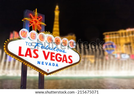 Las vegas sign and strip background, Nevada - stock photo
