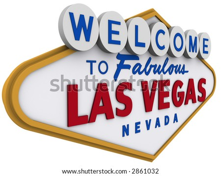 Las Vegas Sign in white background, easy to isolate. - stock photo