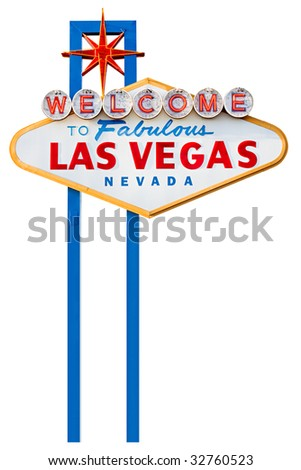 las vegas sign on the city strip - isolated on white - stock photo
