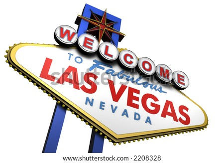 Las Vegas Sign viewed from Bottom Left 3d - stock photo