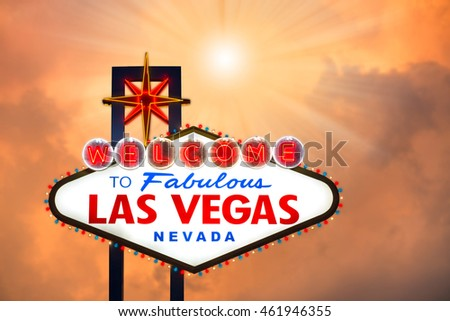 Las vegas sign with cloudscape and sun light effect background