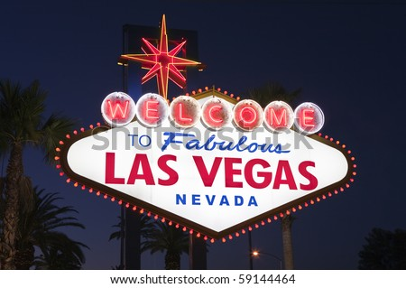 Las Vegas sign with Palms at night.  Overhead wires were removed. - stock photo