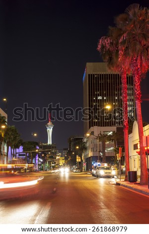 Las Vegas street by night, Nevada, USA - stock photo