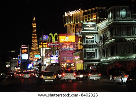 Las Vegas street scene at night - stock photo