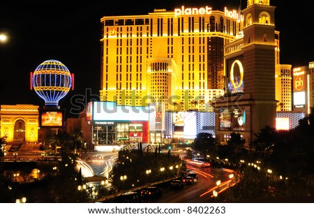 Las Vegas strip landmark at night - stock photo