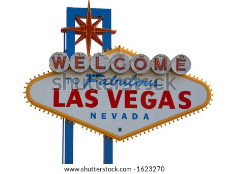 Las Vegas Strip Sign with White Background
