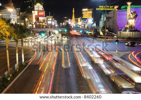 Las Vegas strip skyline and street scene at night - stock photo