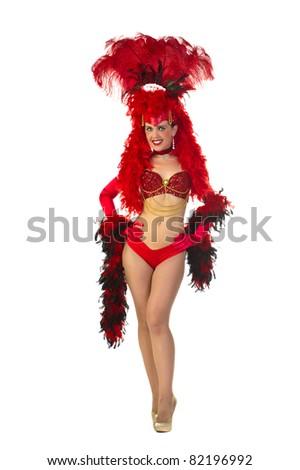 Las Vegas style showgirl - stock photo