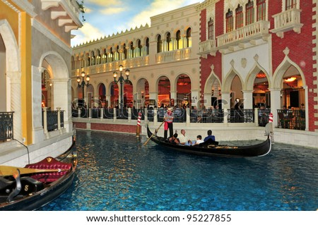 LAS VEGAS, US - OCTOBER 12: Inside the Venetian Resort Hotel Casino on October 12, 2011 in Vegas, US. The luxury resort has a hotel with 4,049 suites and 4,059 hotel rooms - stock photo