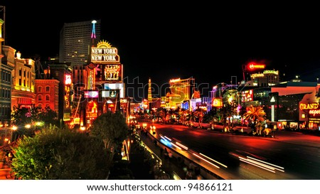 LAS VEGAS, US - OCTOBER 11: Las Vegas Strip at night on October 11, 2011 in Las Vegas, US. 19 of the world's 25 largest hotels are on the Strip - stock photo