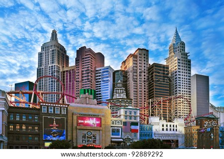LAS VEGAS, US - OCTOBER 11: New York-New York Hotel & Casino on October 11, 2011 in Vegas, US. The resort, located in the Strip, has a roller coaster and a hotel with 2,024 rooms - stock photo
