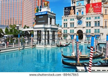 LAS VEGAS, US - OCTOBER 12: The Venetian Resort Hotel Casino on October 12, 2011 in Vegas, US. The luxury resort has a five-diamond hotel with 4,049 suites and 4,059 hotel rooms - stock photo