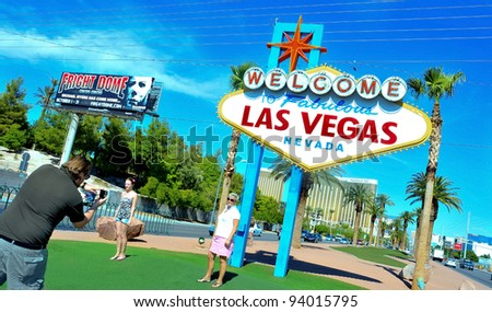 LAS VEGAS, US - OCTOBER 13: Welcome to Fabulous Las Vegas sign on October 13, 2011 in Vegas, US. The famous sign is located near Mandalay Bay, a luxury hotel casino with 3,309 rooms - stock photo