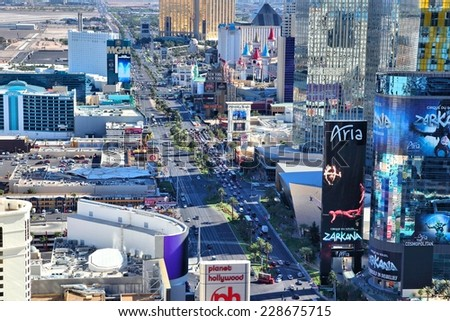 LAS VEGAS, USA - APRIL 14, 2014: Aerial view of The Strip in Las Vegas. Among 25 largest hotels in the world, 15 are located on Las Vegas Strip. - stock photo