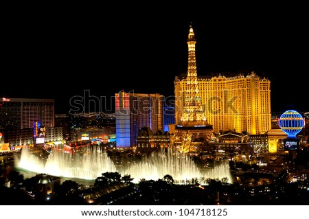 LAS VEGAS, USA - APRIL 7: Fountains of Bellagio on April 7, 2011 in Las Vegas. Fountains of Bellagio, which have featured in several movies, is a large dancing water fountain synchronized to music. - stock photo