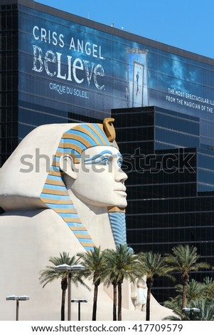 LAS VEGAS, USA - APRIL 14, 2014: Luxor resort view in Las Vegas. It is one of 10 largest hotels in the world with 4,408 rooms. - stock photo