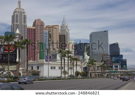LAS VEGAS, USA - AUG 5: Day view of Las Vegas Strip, with all its modern building in a sunny day, With Statue of Liberty and road on August 5 2013