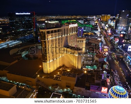 LAS VEGAS, USA—Center shot of the Las Vegas Strip at night, with the beautiful lights of the city in April 2017.