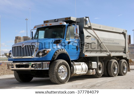 Las-Vegas, USA - Feb 1, 2016: New International truck HX series at presentation in Las-Vegas, Nevada, Feb 1, 2016 - stock photo