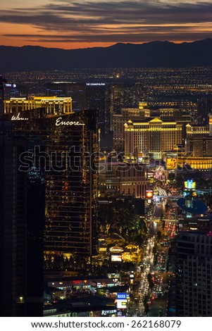 Las Vegas, USA - January 6: Sunset view from the Stratosphere Tower in Las Vegas, Nevada on January 6, 2014.